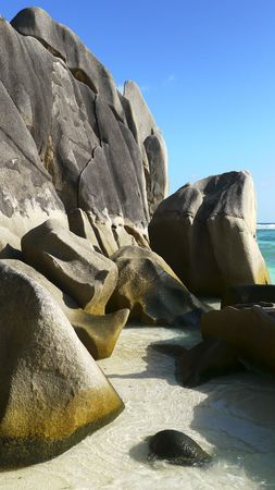 Beautiful granite rocks formation at tropical beach Anse Source dArgent, La Digue Island, Seychelles photo