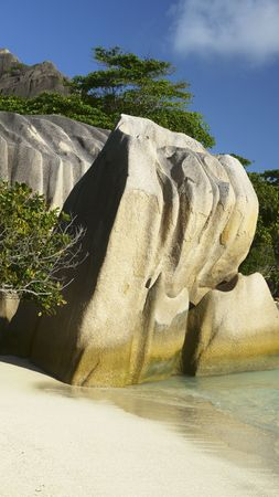 Beautiful granite rocks formation at a tropical beach at Anse Source dArgent, La Digue Island, Seychelles photo