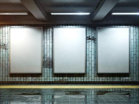Trois grands affiche verticale sur la station de métro Banque d'images - 34222029