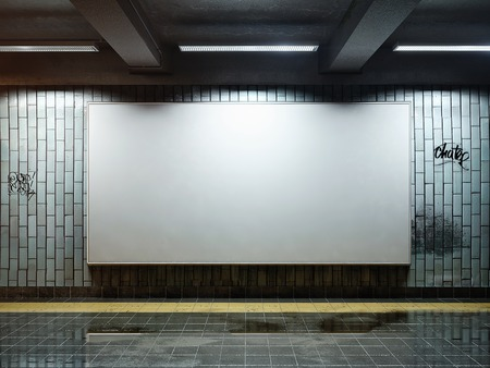 white big horizontal poster on metro station