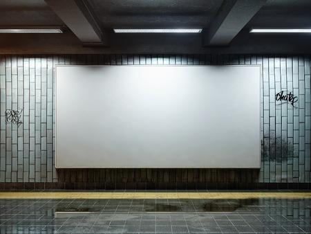 white big horizontal poster on metro station photo