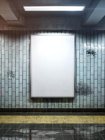 white big vertical poster on metro station Foto de archivo