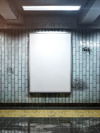 white big vertical poster on metro station photo
