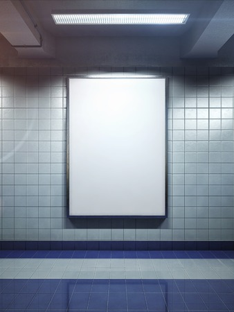 advertisements: white big vertical poster on metro station Stock Photo