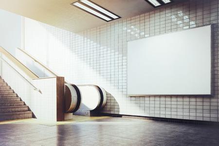 display advertising: white billboard mockup underground metro with escalator