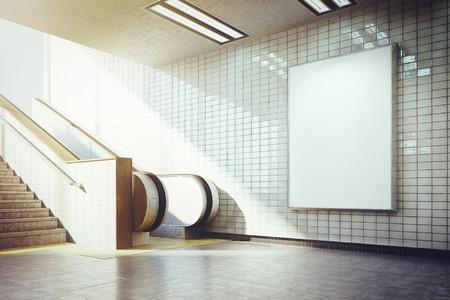 white billboard mockup underground metro with escalator