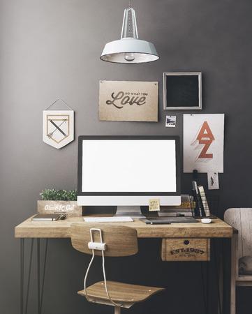 artistas: Espacio de trabajo con estilo con la computadora y carteles en el hogar o estudio
