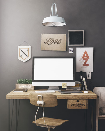 artist: Stylish workspace with computer and posters on home or studio Stock Photo