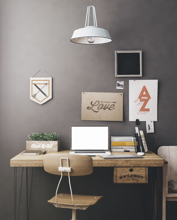 design: Stylish workspace with computer and posters on home or studio Stock Photo