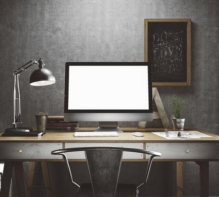 ordinateur bureau: Espace de travail élégant avec ordinateur et affiches à domicile ou en studio
