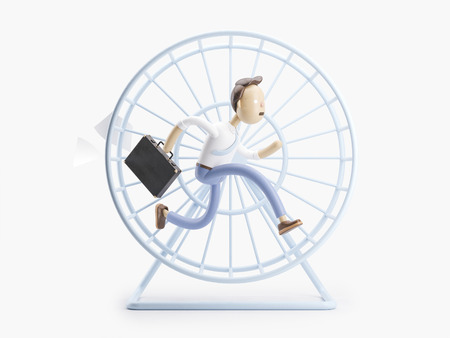 cartoon character spinning like a squirrel in a wheel Stock Photo