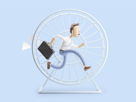 cartoon character spinning like a squirrel in a wheel 스톡 콘텐츠