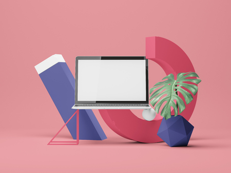 3d illustration. Device screen Mockup with colored  forms.