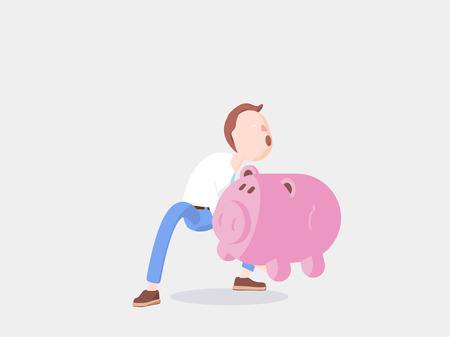 Cartoon character stand with coin and money box pig.