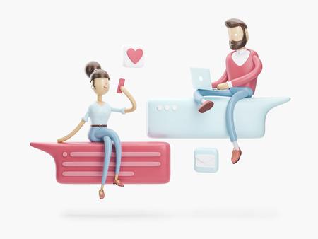 personaje de dibujos animados sentado en una charla de burbujas. concepto de redes sociales. Ilustración 3d