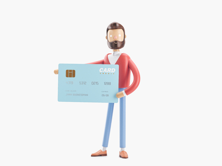 cartoon character with a big credit card. 3d illustration