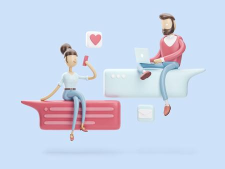 cartoon character sitting on a bubble talk. social media concept. 3d illustration Stock Photo