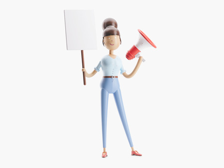 cartoon character stands with a banner and a megaphone. 3d illustration Imagens - 109841870