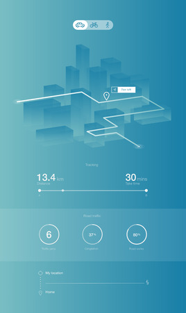 Vector illustration. Dashboard theme creative infographic of city map navigation.