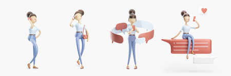 set of 3d illustrations. cartoon character is sending a message and  talking on the phone.