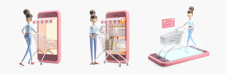 set of 3d illustrations. cartoon character with a shopping cart. internet shopping Stock Photo