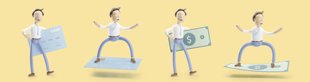 Businessman Jimmy with credit card and concept of  money transfer. set of 3d illustration.