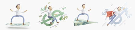 concept of money transfer. set of 3d illustration. Reklamní fotografie