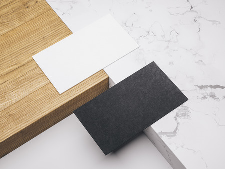 .Creative mockup set. Minimalistic mockup with business cards on wood and warble texture.