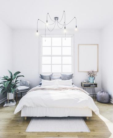 Empty frame in interior. Poster mockup in bedroom.