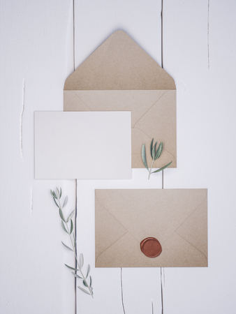 Place card mockup. Envelope with an elegant wedding invitation