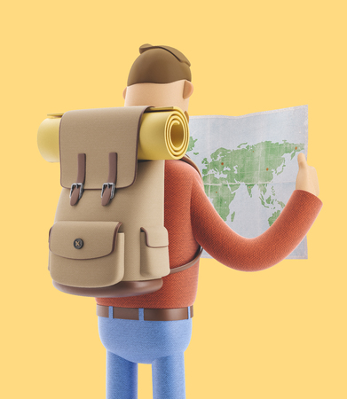 3d illustration. Cartoon character tourist holds world map in hands.