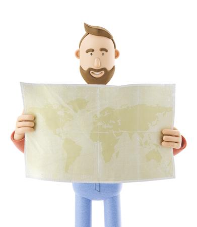 3d illustration. Cartoon character tourist holds world map in hands. Standard-Bild - 118069407