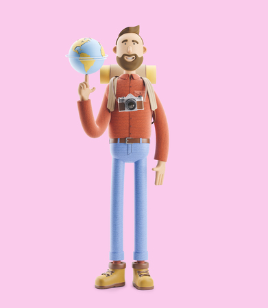 Concept of traveling. 3d illustration. Cartoon character tourist stands with a large map pointer and globe. Standard-Bild - 118069505