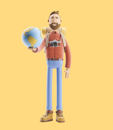 Concept of traveling. 3d illustration. Cartoon character tourist stands with a large map pointer and globe. Standard-Bild - 118069503