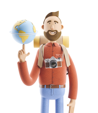 Concept of traveling. 3d illustration. Cartoon character tourist stands with a large map pointer and globe. Standard-Bild - 118069504