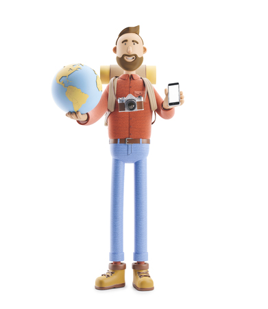 Concept of traveling. 3d illustration. Cartoon character tourist stands with a large map pointer and globe. Standard-Bild - 118069507