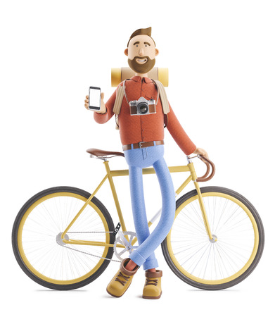3d illustration. Cartoon character tourist stands with a phone in his hands and bicycle. Standard-Bild - 118069508