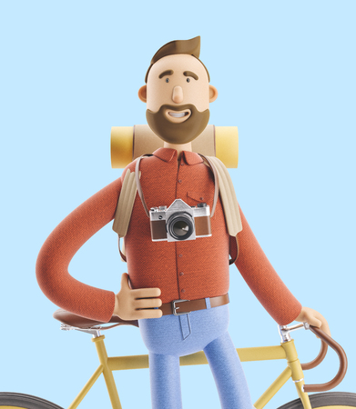 3d illustration. Cartoon character tourist with a bicycle. Standard-Bild - 118069510