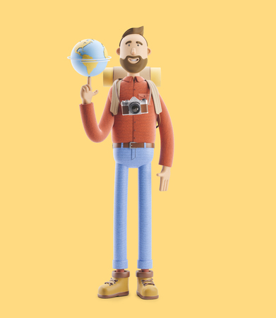 Concept of traveling. 3d illustration. Cartoon character tourist stands with a large map pointer and globe. Standard-Bild - 118069513