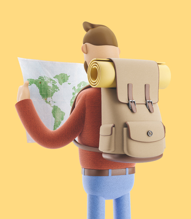 3d illustration. Cartoon character tourist holds world map in hands. Standard-Bild - 118069514