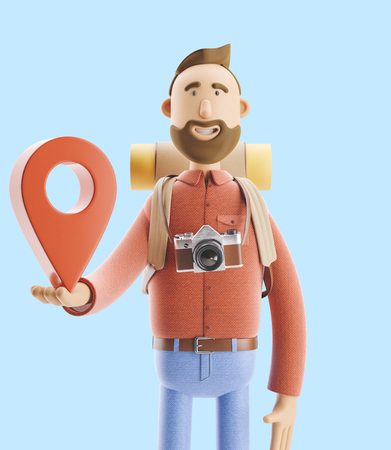 3d illustration. Cartoon character tourist stands with a large map pointer in his hands. Standard-Bild - 118069517