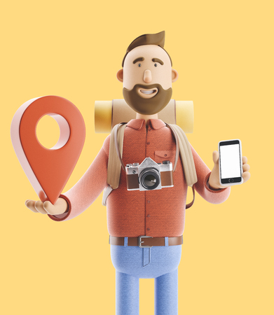 3d illustration. Cartoon character tourist stands with a large map pointer and phone in his hands. Standard-Bild - 118069519