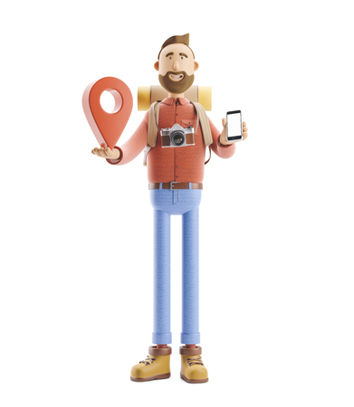 3d illustration. Cartoon character tourist stands with a large map pointer and phone in his hands. Standard-Bild - 118069522