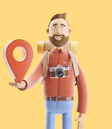 3d illustration. Cartoon character tourist stands with a large map pointer in his hands. Standard-Bild - 118069614