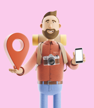 3d illustration. Cartoon character tourist stands with a large map pointer and phone in his hands. Standard-Bild - 118069617