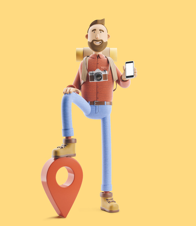 3d illustration. Cartoon character tourist stands with a large map pointer and phone in his hands. Standard-Bild - 118069616