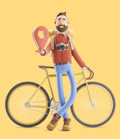 3d illustration. Cartoon character tourist stands with a large map pointer in his hands and bicycle. Standard-Bild - 118069620