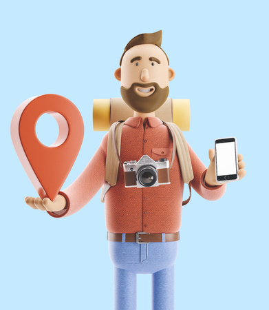 3d illustration. Cartoon character tourist stands with a large map pointer and phone in his hands. Standard-Bild - 118069622