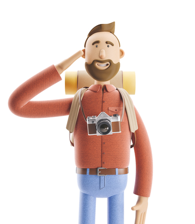 3d illustration. Cartoon character tourist welcomes you. Banco de Imagens