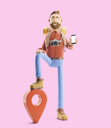 3d illustration. Cartoon character tourist stands with a large map pointer and phone in his hands. Standard-Bild - 118069624